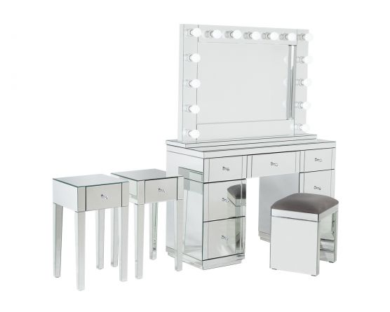 Monroe Silver Mirrored Dressing Table, Dressing Table Set Mirrored