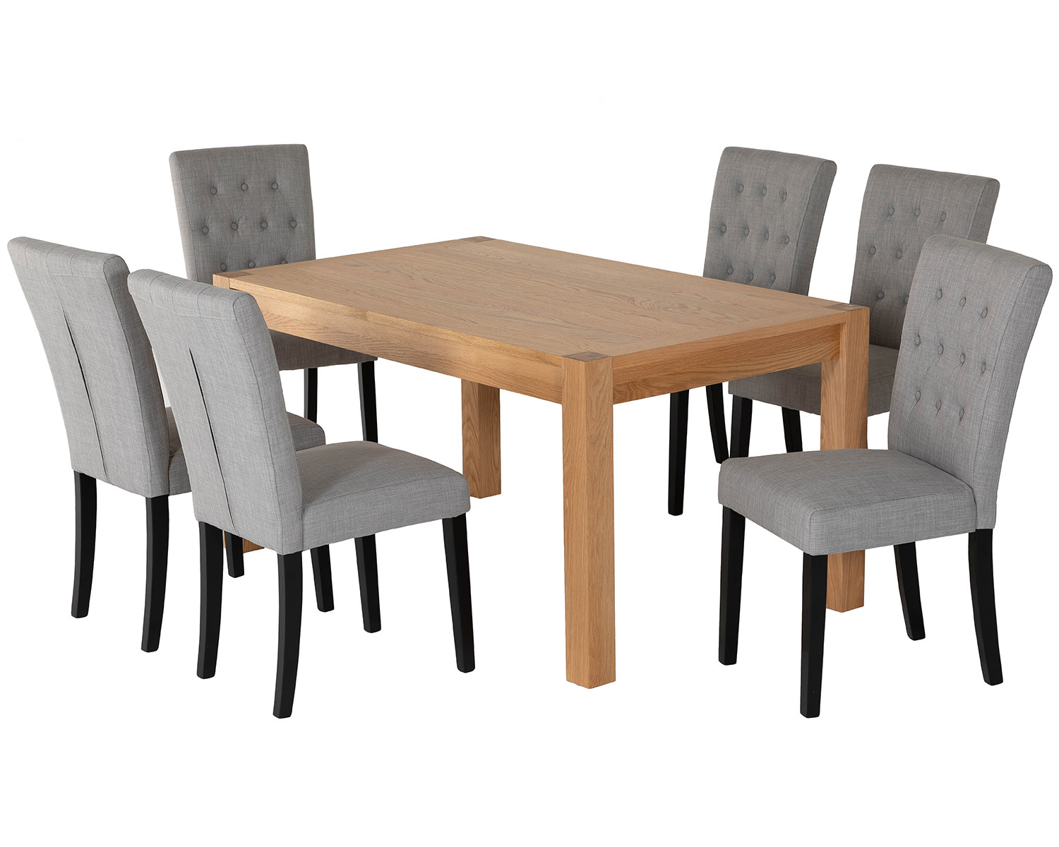 Rectangular Oak Dining Table And 6 Grey Linen Florence Dining Chairs With Black Legs