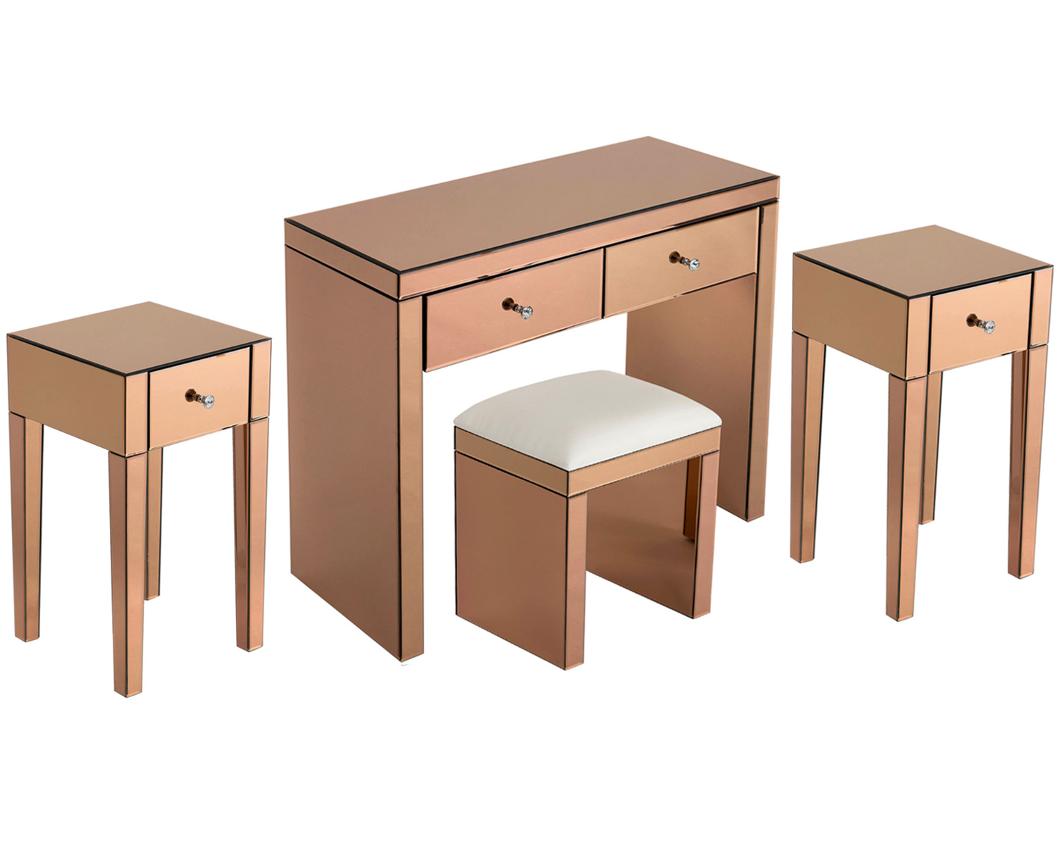 Monroe Console Table Set with 2 x 1 Drawer Bedside Tables and Mirrored Stool in Rose Gold