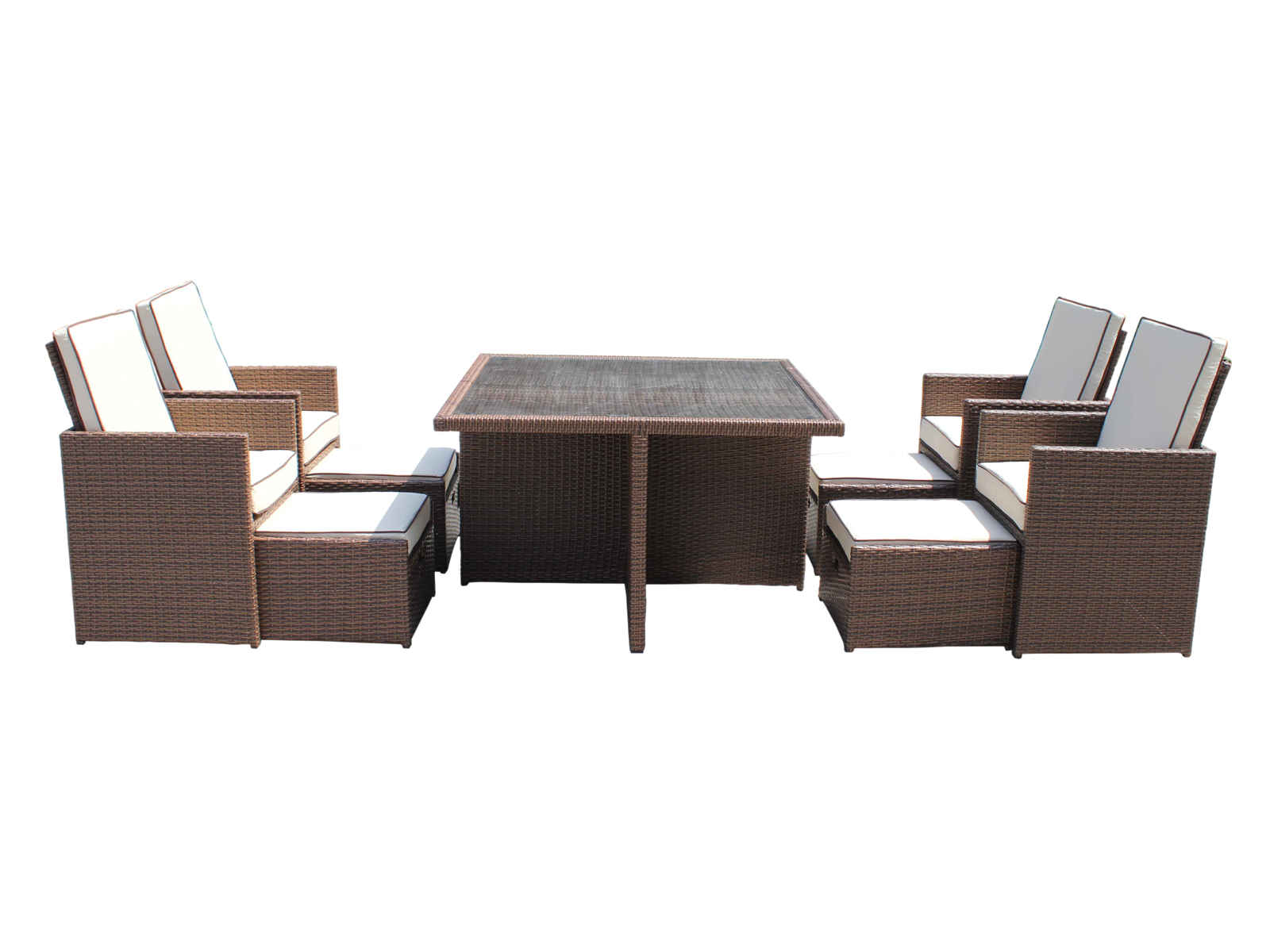 Outdoor rattan furniture barcelona 9 piece garden cube set for Outdoor furniture 9 piece