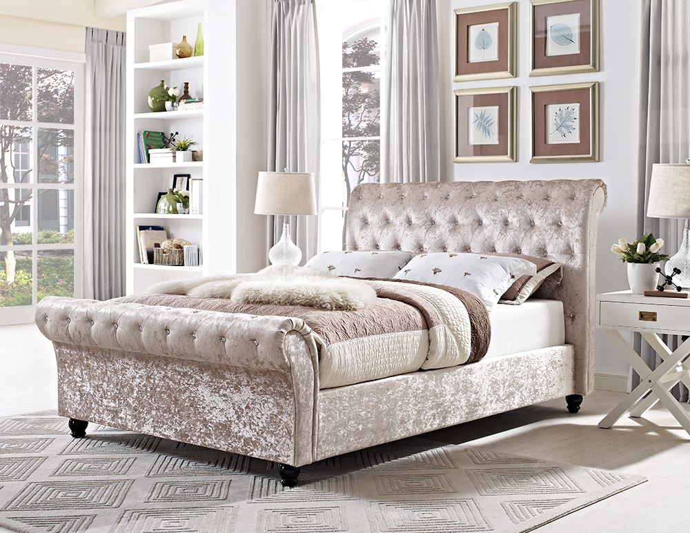 Chesterfield 5ft 6 39 6 king sleigh designer bed in Bedroom furniture chesterfield