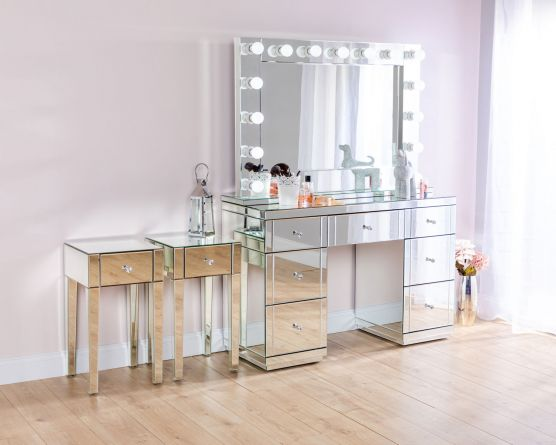 Verona Dressing Table All Glass Mirror