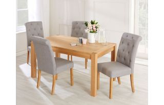 Rectangular Oak Dining Table and 4 Grey Linen Romano Dining Chairs