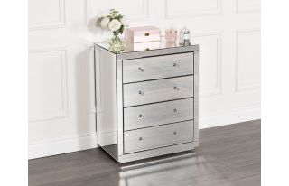 Monroe Silver Mirrored Chest with 4 Drawers