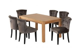 Rectangular Oak Dining Table and 6 Grey Velvet Camden Dining Chairs with Black Legs