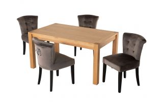 Rectangular Oak Dining Table and 4 Grey Velvet Verona Dining Chairs with Chrome Knocker
