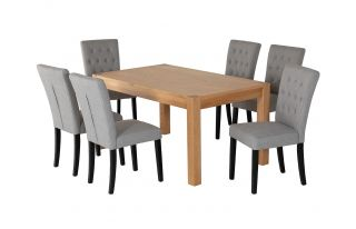 6 Grey Linen Florence Dining Chairs and Rectangular Oak Devonshire Dining Table Set