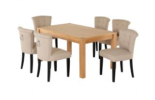 Rectangular Oak Dining Table and 6 Cream Linen Camden Dining Chairs with Chrome Knocker and Black Legs