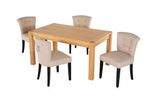 Rectangular Oak Dining Table and 4 Cream Linen Camden Dining Chairs with Chrome Knocker and Black Legs