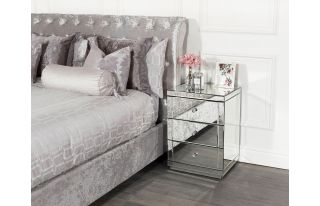 Monroe 3 Drawer Bedside Table Set in Silver