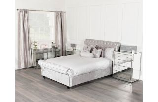 Monroe Silver Mirrored Dressing Table Set with 2 x 3 Drawer Bedside Tables and 4 Drawer Chest