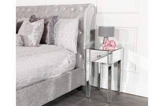 Monroe 1 Drawer Bedside Table Set in Silver
