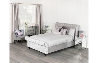 Monroe 4 Drawer Chest Set with 2 x 3 Drawer Bedside Tables in Silver