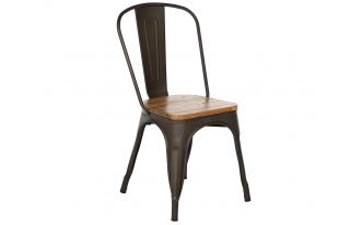 Tolix Style Chair in Gunmetal Matte with Natural Elm Seat
