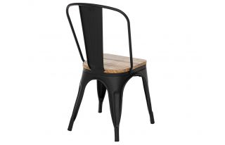 Tolix Style Chair in Black Matte with Natural Elm Seat