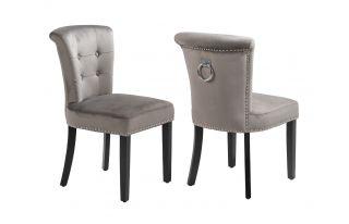 Camden Velvet Scroll Top Dining Chair in Grey Velvet With Knocker