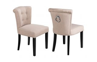 Pair of Camden Linen Scroll Top Dining Chairs in Cream With Knocker