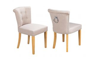 Pair of Camden Linen Scroll Top Dining Chairs in Cream With Knocker and Oak Legs