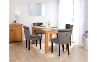 Rectangular Oak Dining Table and 4 Grey Velvet Camden Dining Chairs with Chrome Knocker