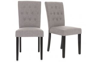 Pair of Florence Button back Linen Dining Chairs in Grey