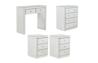 Monroe Silver Mirrored Console Table Set with 2 x 3 Drawer Bedside Tables and 4 Drawer Chest