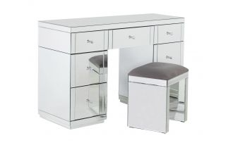Monroe Silver Mirrored Dressing Table Set with Stool