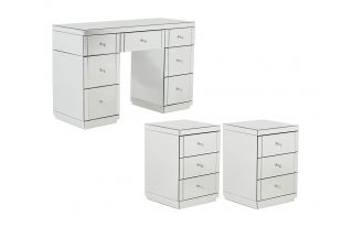 Monroe Silver Mirrored Dressing Table Set with 2 x 3 Drawer Bedside Tables