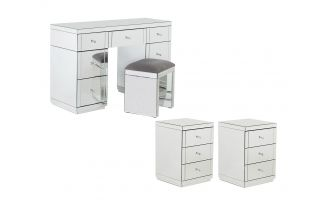 Monroe Silver Mirrored Dressing Table Set with 2 x 3 Drawer Bedside Tables and Stool