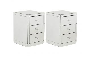 Monroe Silver Mirrored 3 Drawer Bedside Table Set