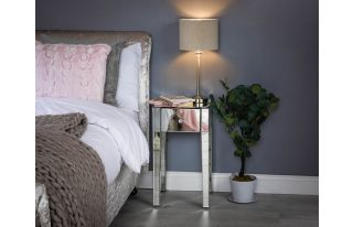 Monroe Silver Mirrored Bedside Table with 1 Drawer