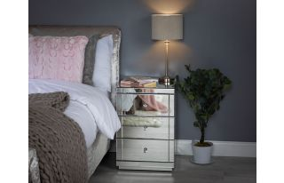 Monroe Silver Mirrored Bedside Table with 3 Drawers