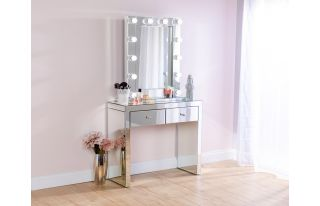 Monroe Silver Mirrored Console Table Set and Small Hollywood Mirror