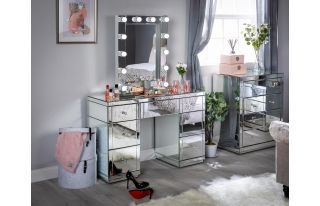 Monroe Silver Mirrored Dressing Table Set with Small Hollywood Mirror