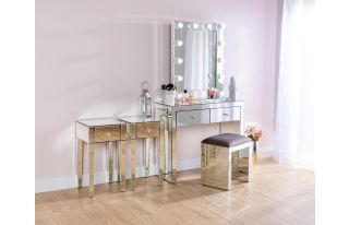 Monroe Silver Mirrored Console Table Set with 2 x 1 Drawer Bedside Tables, Stool and Small Hollywood Mirror