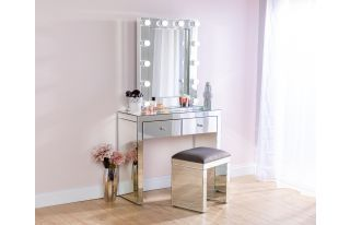 Monroe Silver Mirrored Console Table Set with Stool and Small Hollywood Mirror