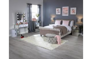 Monroe Silver Mirrored Console Table Set with 2 x 3 Drawer Bedside Tables and Small Hollywood Mirror