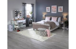 Monroe Silver Mirrored Dressing Table Set with 2 x 1 Drawer Bedside Tables and Small Hollywood Mirror