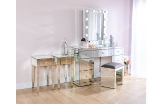 Monroe Silver Mirrored Dressing Table Set with 2 x 1 Drawer Bedside Tables, Stool and Small Hollywood Mirror