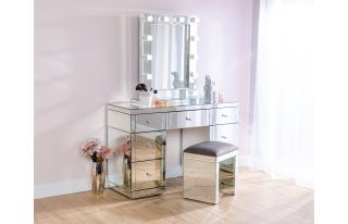 Monroe Silver Mirrored Dressing Table Set with Stool and Small Hollywood Mirror