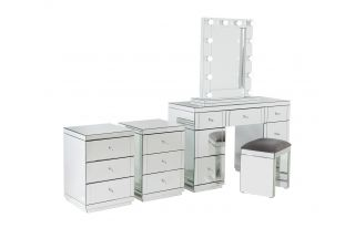 Monroe Silver Mirrored Dressing Table Set with 2 x 3 Drawer Bedside Tables, Stool and Small Hollywood Mirror