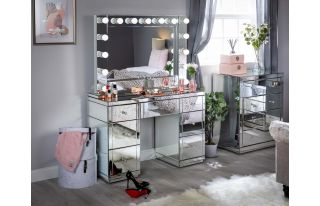 Monroe Silver Mirrored Dressing Table Set with Large Hollywood Mirror