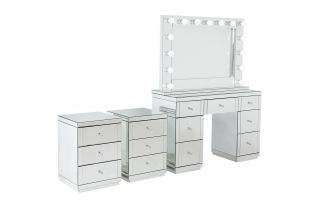Monroe Silver Mirrored Dressing Table Set with 2 x 3 Drawer Bedside Tables and Large Hollywood Mirror