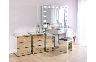 Monroe Silver Mirrored Dressing Table Set with 2 x 3 Drawer Bedside Tables, Stool and Large Hollywood Mirror