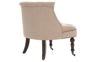 Olivia Linen Fabric Occasional Accent Chair in Cream