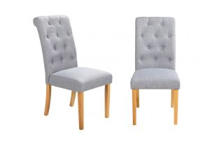 Pair of Romano Scroll Back Dining Chairs in Grey Linen