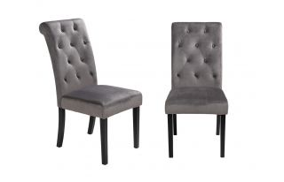 Pair of Romano Scroll Back Dining Chairs in Grey Velvet