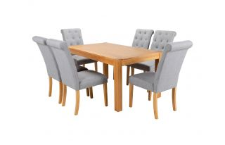 Rectangular Oak Dining Table and 6 Grey Linen Romano Dining Chairs