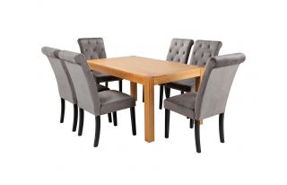 Rectangular Oak Dining Table and 6 Grey Velvet Romano Dining Chairs with Black Legs