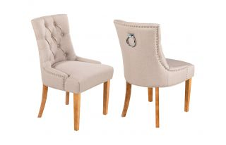 Pair of Verona Scoop back Linen Dining Chairs in Cream with Knocker