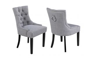 Pair of Verona Scoop back Dining Chair in Grey Linen with Knocker
